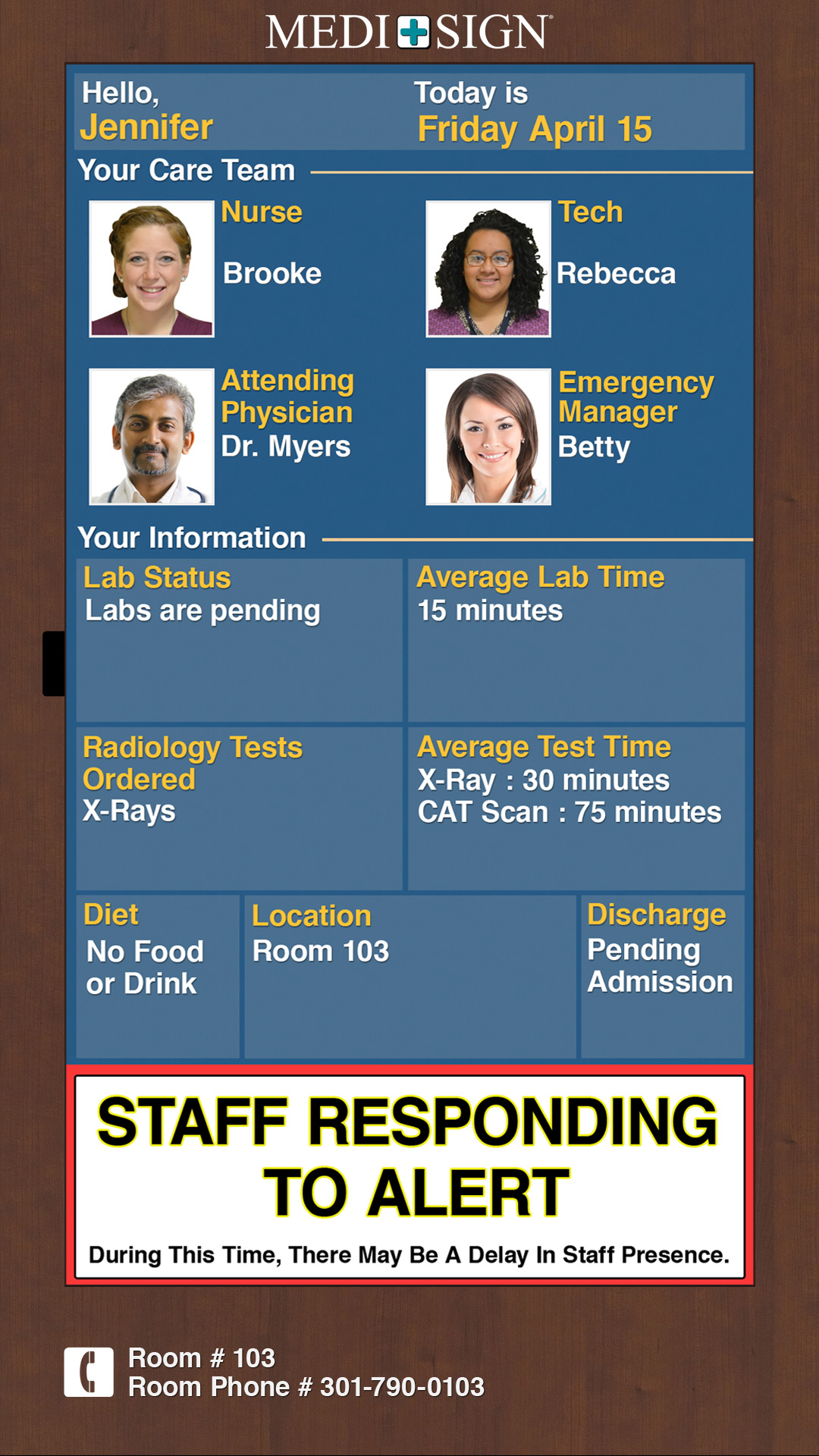 Digital Exam Room Whiteboards for Emergency Department